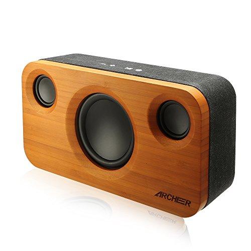 Foto de Altavoz Bluetooth Inalambrico 25W de Bambú, Altavoz Estéreo Bluetooth 4.0 con Subwoofer, Portátil Altavoces para Casa, Dormitorio, Sala y Fiesta