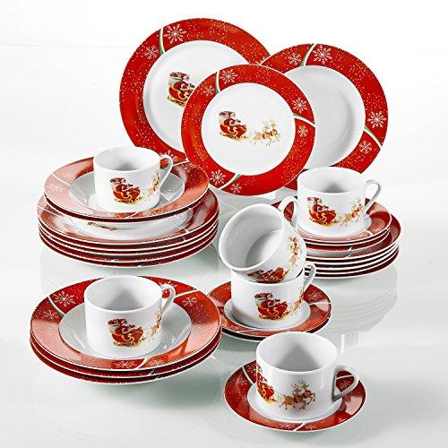 flirt geschirr weihnachten VEWEET, Serie CHRISTMASDEER, 30 teilig Set Porzellan Geschirrservice, Kaffeeservice, Kombiservice für Weihnachten