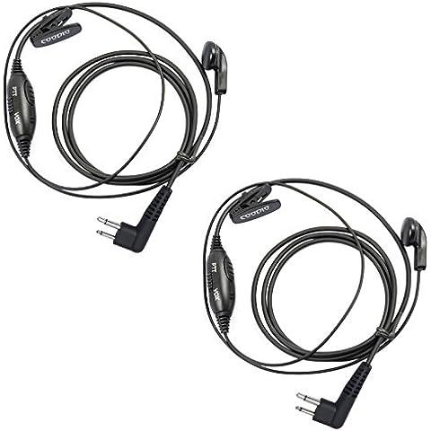 Coodio M2HS9 Motorola Radio Auriculares 2 Pin VOX/PTT Micro-Auricular Micrófono Seguridad y Bodyguard Para 2-Pin Motorola Plug Walkie-Talkie Transceptor Emisor y Receptor PMR -