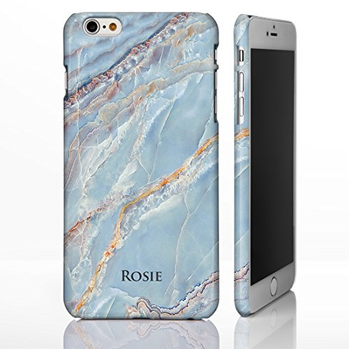 Personlisierter Marmor mit aufgedrucktem Namen oder Initialen Hüllle mit natürlichem Steinglanz für iPhone Modelle. Designs von iCaseDesigner., plastik, Marble 3: Natural Brown Marble, iPhone 7 - Slim Marble 7: Light Blue Streaky Marble