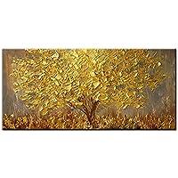 Pintura Al Óleo Pintada A Mano,Pintura Al Óleo Pintado A Mano Puro Tamaño Grande Retro Abstracto Minimalista Moderno Golden Tridimensional Rico Árbol Óleo Arte Mural De Fondo Para El Hogar Salón Decor