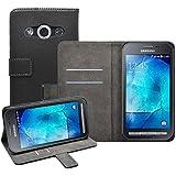 Membrane - Noir Portefeuille Etui Coque Samsung Galaxy Xcover 3 (SM-G388F) - Wallet Case Housse + 2 Protections d'écran