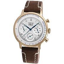 Davis 1926 - Reloj de pulsera hombre médico, acero oro rosa, esfera de acero, pulsómetro, día fecha, correa de piel marrón