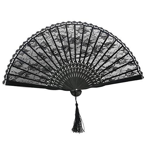(Rosenice Faltfächer, Handfächer, spanischer Stil, viktorianischer Stil, für Hochzeitsfeiern, Schwarz)