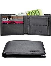 Cartera Hombre RFID Cuero Billetera Tarjetas Crédito con Monedas Bolsillo