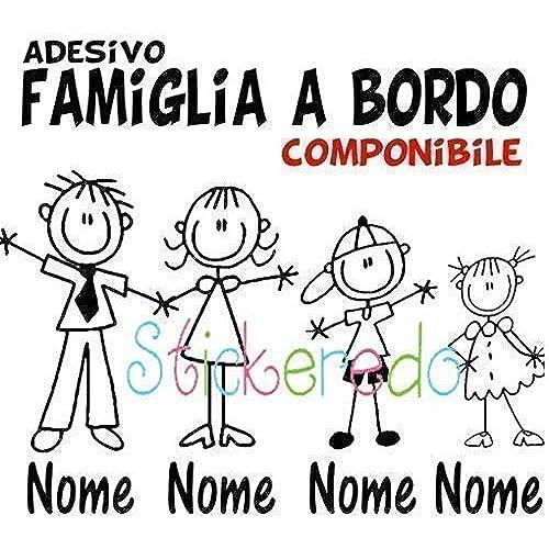 STICKEREDO Adesivo famiglia a bordo, family sticker, adesivo bimbo a bordo