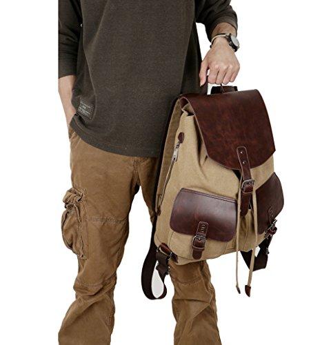 Super moderno vintage tela zaino moda Student zaino laptop bag Bookbag scuola borsa a tracolla in pelle per escursionismo, donna Uomo, Green Khaki