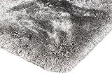 Kadimadesign Teppich Wohnzimmer Carpet hochflor Design Plush Shaggy Rug 100% Polyester 200x300 cm Rechteckig Silber | Teppiche günstig Online kaufen
