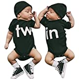 TuHao Twins Infant One Piece Bodysuit Newborn Infant Baby Bodysuit Twin Boys Newborn Baby Girls Baby Twin (in, 3M)