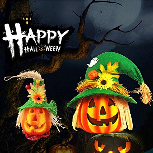 Forthery Halloween Kürbis Laterne, 2Pcs Geschnitzt Kürbis Trick or Treat Kürbis Lampe Perfekt für Dekoration, Bar, Party Feier
