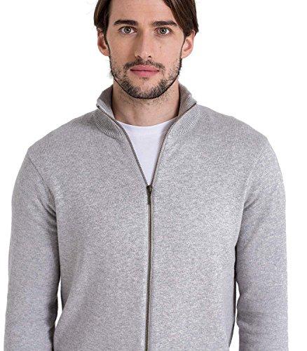 WoolOvers Strickjacke mit Reißverschluss - Herren (Cotton-Cashmere) - C26 Grey Marl
