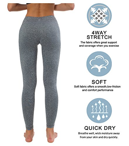 76f3c3f6621a5 Queenie Ke Women Power Stretch Plus Size High Waist Yoga Pants Running  Tights Size XS Color Space Dye Grey - Buy Online in KSA. Apparel products  in Saudi ...