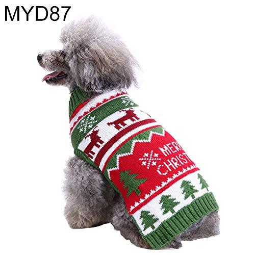 (CricTeQleap Kawaii Herbst Winter Hund Welpen Hohe Kragen Warme Weihnachten Schneeflocke Pullover Haustier Kleidung MYD87 XXL)