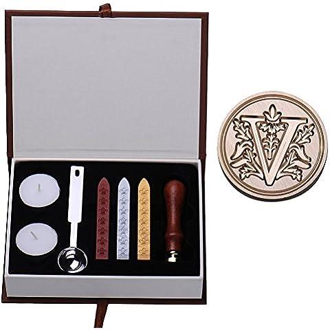 MING europeo in ottone, stile Vintage, lettere A-Z Seal Stamp Set sigillo di cera, con manico in legno di palissandro Type V - Stile Delle Lettere Set