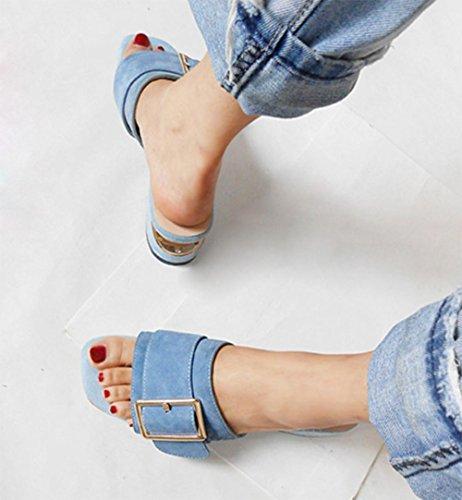 Dick mit weiblichen Pantoffeln Sommer Sandalen Frauen Blue