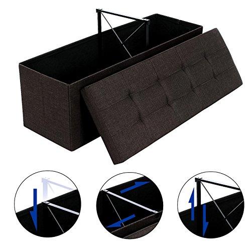 *SONGMICS 120 L grand Pouf Coffre de Rangement Sofa Repose-pied Pliable pour 3 personnes tissu en lin brun LSF77Q prêt à acheter