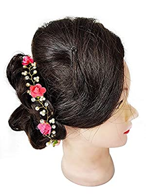 Kabello Flower Crown Tiara Headband, Hair Accessories For Women And Girls Use, Pink,15 Gram, Pack Of 1