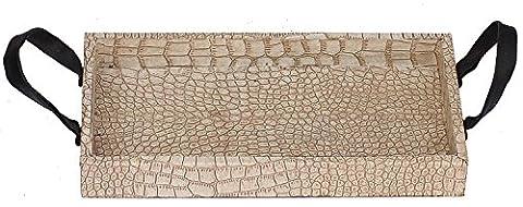 Souvnear Plateau en bois avec poignée–Rectangulaire faite à la main décoratifs Plateau de service en bois et cuir PU–Motif peau de crocodile–Grande plateaux de service de cuisine salle à manger, décoration de table