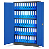 Jan Nowak by Domator24 Aktenschrank Büroschrank Metallschrank Fachböden Stahblech Pulverbeschichtung versch. Farben und Größen fertig montiert (anthrazit/blau, 185 x 115 x 40 cm)