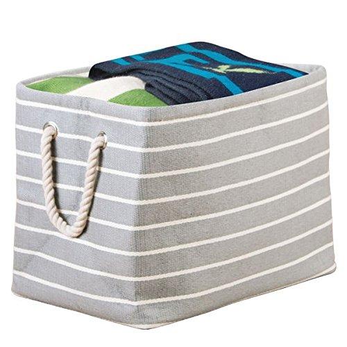 MDesign Aufbewahrungsbox Mit Griffen Groß U2013 Wäschebox Für Ordnung Im  Schlafzimmer U2013 Stoffkiste Für Kleidung, Decken, Kopfkissen U2013 Grau/creme