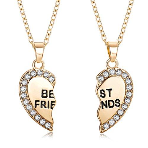 Best Friend Christmas Gift,DIKEWANG Fashion Unisex Men Women 2 PCS Heart Pendant Necklace Jewelry Chain Sweater Chain Sweater Accessory Jewelry Decoration(Pack of 2Pcs)