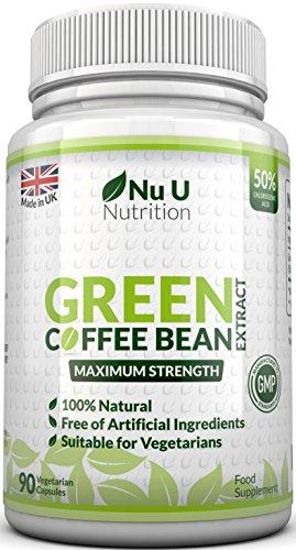 Extrakt aus Grünen Kaffeebohnen - mit Chlorogensäure zum natürlichen Abnehmen - für Vegetarier geeignet - 90 Kapseln - Nahrungsergänzungsmittel von Nu U Nutrition