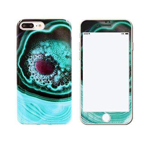 Coque iPhone 7 Plus, IJIA Ultra-mince Motif Marbre Naturel Blanc-Noir Verre Trempé HD Film Protection Ecran et TPU Doux Silicone Bumper Case Cover Shell Coque Housse Etui pour Apple iPhone 7 Plus (5.5 color-KM5