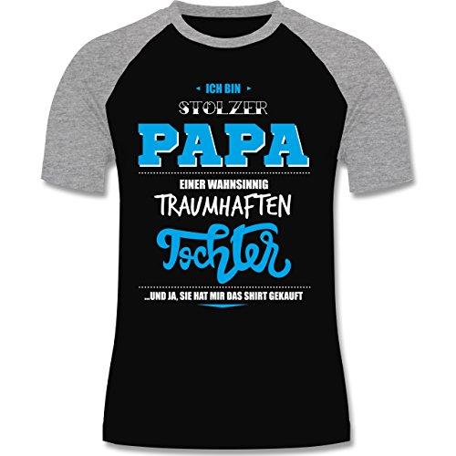 Vatertag - Ich bin stolzer Papa einer wahnsinnig traumhaften Tochter - zweifarbiges Baseballshirt für Männer Schwarz/Grau Meliert