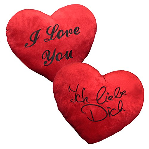 Plüschkissen extra groß ca. 60 cm rotes Herz Kissen incl. Füllung bestickt mit Liebeserklärung