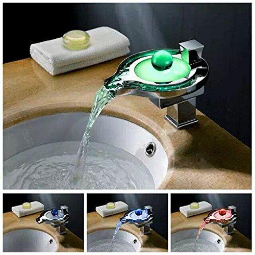 Lonfenner Led Farbtemperatur Wechselnde Warme Und Kalte Kupfer Wasserfall Bad Waschbecken Wasserhahn. Wasser Stromerzeugung