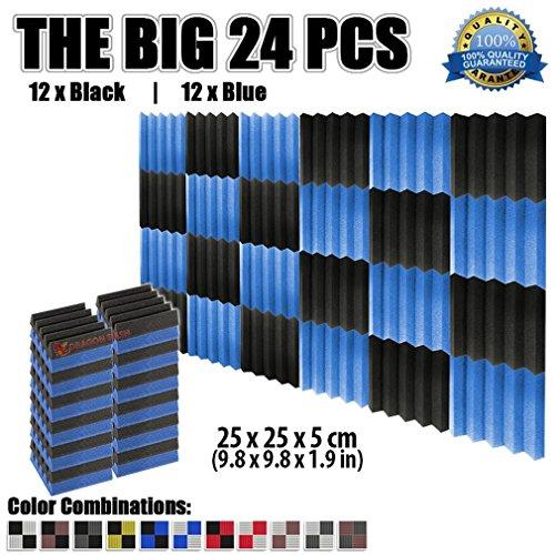 super-dash-24-pieces-of-25-x-25-x-5-cm-wedge-black-blue-acoustic-soundproofing-foam-studio-treatment