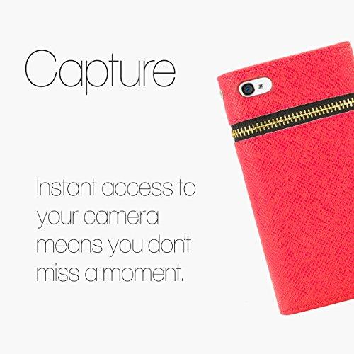 32nd Étui portefeuille en cuir PU pour iPhone 4 4S avec protecteur décran et chiffon de nettoyage - Zip wallet - Crème Zip wallet - Blanc