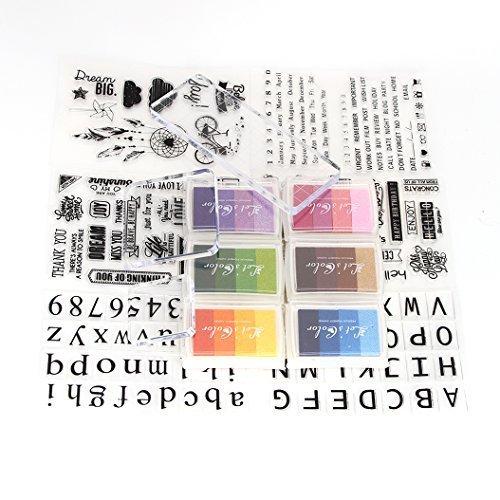 Stempelkissen-Set, zum Silikon-Stamper Folder Vorlage und Gel Acryl Pad f¨¹r DIY Album Papier Karte Scrapbooking Kunst Handwerk -