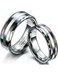 JewelryWe Par de Alianzas de Boda Anillos de Compromiso Originales, Acero de Tungsteno Anillos de