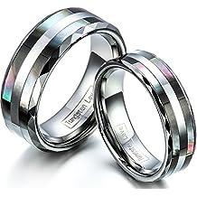 JewelryWe Par de Alianzas de Boda Anillos de Compromiso Originales, Acero de Tungsteno Anillos de Eternidad Rayas de Reflección Atractivas, Regalo de San Valentín