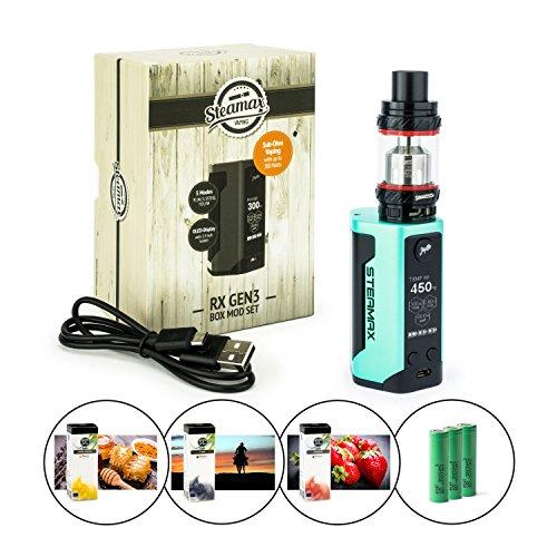 Steamax RX Gen3 300 Watt + TFV12 Tank 6 ml + 3 x 3120 mAh Akku + 3 x 10 ml SC-Liquid (nikotinfrei) E-Zigarette E-Shisha E-Zigaretten-Set (mint - grün)