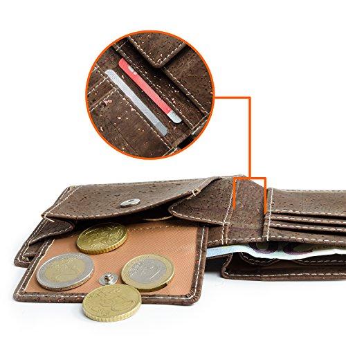 Leichtes Bifold Herren Portemonnaie vegan aus Kork (dunkel) mit Geschenkbox wasserabweisendes, robustes, handmade Portemonee (dunkel) (dunkel) - 5