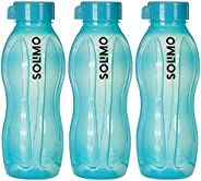 Amazon Brand - Solimo Alaska Plastic Water Bottle Set, Set of 3, 600ml, Teal