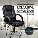 Popamazing Black High back Faux Leather Computer Executive Office Chair,Modern and Ergonomic Design, 360 Degree Swivel,Tilt Mechanism,Adjustable Seat Height