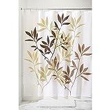 InterDesign Leaves Duschvorhang | Designer Duschvorhang in der Größe 183,0 cm x 183,0 cm | schickes Duschvorhang Motiv mit Blättern | Polyester braun