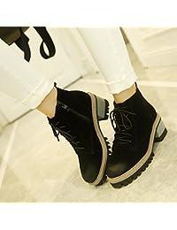 &ZHOU Botas otoño y del invierno botas cortas mujeres adultas 'cargadores de Martin Knight botas a23 , black , 35