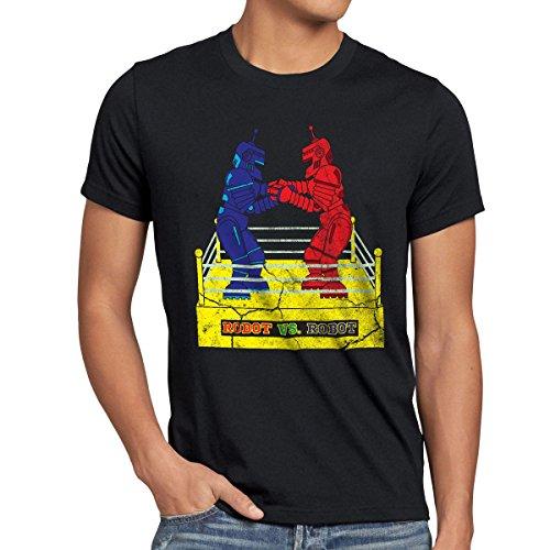 style3 Retro Roboter Herren T-Shirt Sheldon, Farbe:Schwarz, Größe:4XL