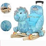 Baby Schaukelpferd Holz, Baby-Schaukelstuhl für Kinder Dinosaurier-Spielzeug für Kinder 1-2 Jahre altes kleines Holzpferdeauto-Geschenk mit Musik 200 Kinderlied mit teleskopischem Putter