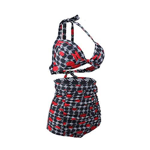 Costumi da Bagno Bikini a Vita Alta Vintage per Donna colore1