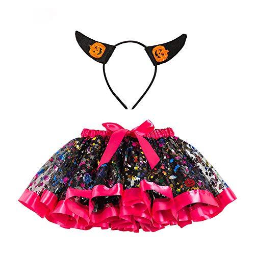 Romantic Baby Mädchen Halloween Kostüme Kinder Pailletten Rock Bowknot Tüll Spitze Tutu Rock Mädchen Karikatur Kostüme + Kürbis Stirnband Baby 2er Set Funktionsbekleidung Bereit für Halloween