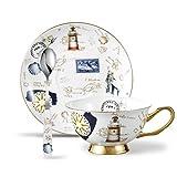 Panbado Kaffeeservice aus Premium Bone China Porzellan, 3 teilig Kaffee Set, mit einer 200 ml Kaffeetasse, Unterteller, Löffel
