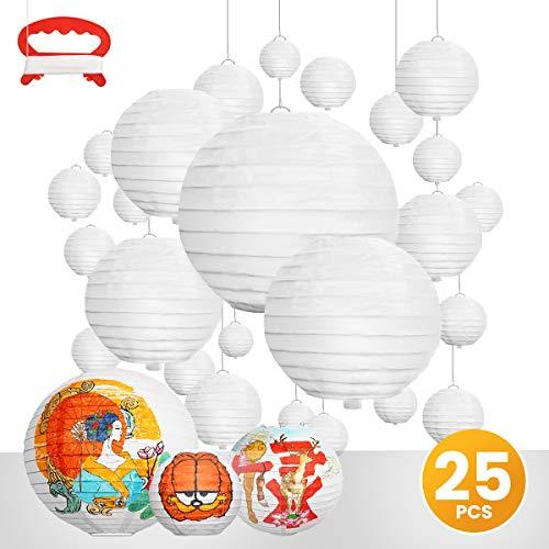 ARTISTORE Papierlaterne, 25 Stück Papier Lampions Schöne Hochzeit Deko Papierlampe rund Papier Laterne Lampenschirm Garten Party Dekoration Ballform - Verschiedene Farben multiple