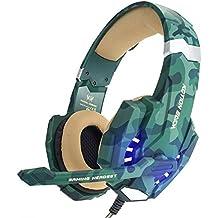 EasySMX PS4 Auriculares Estéreo Gaming Headset para PS4 Profesional con Micrófono Ajustable, Volumen Control, 3.5mm Jack, LED Indicador, Bajo Ruido Compatible con PS4 Laptop PC y Smartphone (Camuflaje)