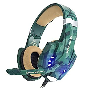 EasySMX Micro Casque Gaming pour PS4, 3.5mm Jack, Audio Stéréo Basse profonde, Cache-oreilles Comfortable bien Anti-Bruit, avec lumière LED et Sous-ligne Contrôleur Compatible pour PS4, PC, Laptop, Tablette, et Tous les Smartphone (Camouflage)