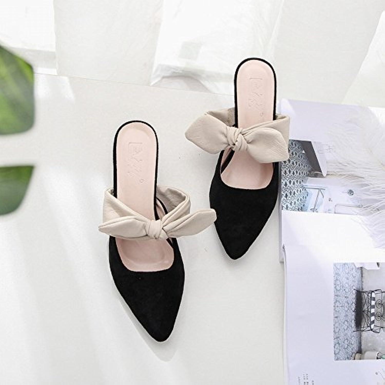 CXY Tacones de Terciopelo Puntiagudos Zapatos de Tacón Cómodos con Tacones Altos,Negro,35